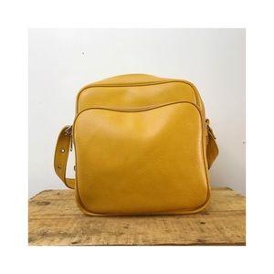 Vintage travel bag mustard goldenrod faux leather